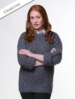 Handknit New Wool Honeycomb Stitch Aran Sweater - Charcoal