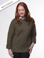 Handknit New Wool Honeycomb Stitch Aran Sweater - Moss