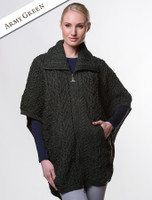 Batwing Jacket with Celtic Knot Zipper Pull - Army