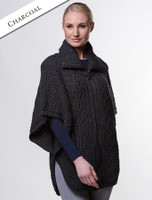 Batwing Jacket with Celtic Knot Zipper Pull - Charcoal