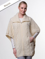 Batwing Jacket with Celtic Knot Zipper Pull - Natural White