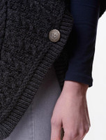 Button Detail of Batwing Jacket with Celtic Knot Zipper Pull