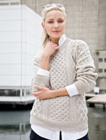 Heavyweight Merino Wool Aran Sweater - Oatmeal