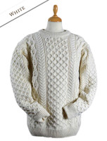 Heavyweight Merino Wool Aran Sweater - White