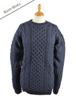Heavyweight Merino Wool Aran Sweater - Navy Marl