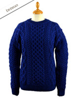 Heavyweight Merino Wool Aran Sweater - Indigo Marl