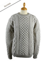 Heavyweight Merino Wool Aran Sweater - Silver