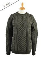 Heavyweight Merino Wool Aran Sweater - Forest Marl