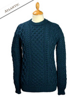 Heavyweight Merino Wool Aran Sweater - Atlantic