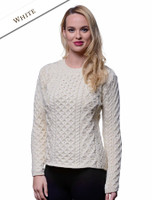 Women's Fisherman Sweater - Aran Sweater - White