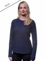 Women's Fisherman Sweater - Aran Sweater - Navy