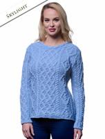 Lambay Aran Sweater for Women - Skylight