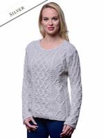 Lambay Aran Sweater for Women - Silver