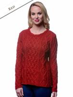 Lambay Aran Sweater for Women - Red