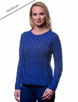 Lambay Aran Sweater for Women - Indigo