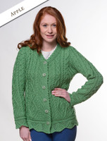 Button Merino Aran Cardigan Cable Knit - Apple Green