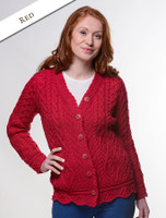 Button Merino Aran Cardigan Cable Knit - Red