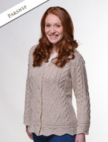 Button Merino Aran Cardigan Cable Knit - Parsnip