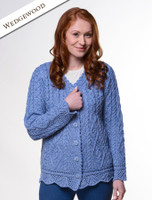 Button Merino Aran Cardigan Cable Knit - Wedgewood