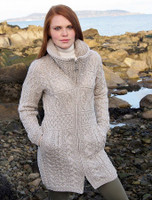 Double Collar Merino Aran Coat - White