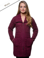 Double Collar Merino Aran Coat - Wine