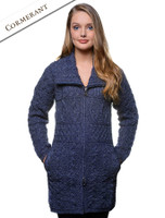 Double Collar Merino Aran Coat - Cormorant