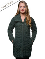 Double Collar Merino Aran Coat - Army Green