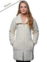 Double Collar Merino Aran Coat - White