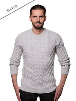 Heavyweight Merino Wool Aran Sweater- Silver