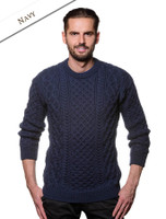Heavyweight Merino Wool Aran Sweater - Navy
