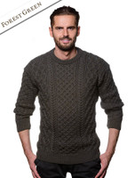 Heavyweight Merino Wool Aran Sweater- Forest