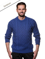 Heavyweight Merino Wool Aran Sweater - Indigo