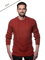 Heavyweight Merino Wool Aran Sweater - Red