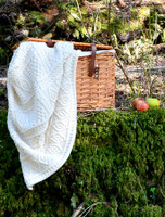 Two-Tone Aran Pleated Throw - White