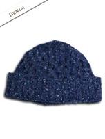 Wool Cashmere Aran Honeycomb Hat - Denim
