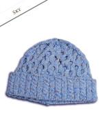 Wool Cashmere Aran Honeycomb Hat - Sky