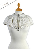 Scallop Lace Capelet with Celtic Knot Zipper - Natural White