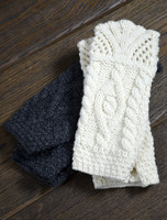 Fingerless Mittens With Scallop Lace - Charcoal/Natural White