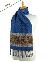 GlenAran Celtic Nordic Pattern Scarf - Blue