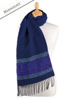 GlenAran Celtic Nordic Pattern Scarf - Midnight