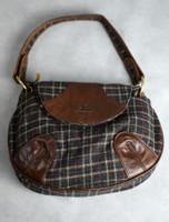 Tartan & Leather Teardrop Bag