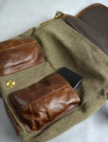 Pocket Detail from Traditional Tweed & Leather Single Buckle Bag