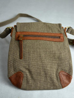 Back Detail of Traditional Tweed & Leather Double Buckle Bag