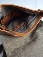 Zip Detail of Traditional Tweed & Leather Double Buckle Bag