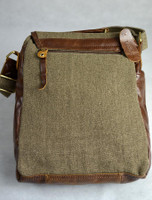 Back Detail of Traditional Tweed & Leather Bag with Handle