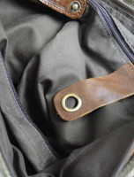 Buckle Detail of Traditional Tweed & Leather Bag with Handle