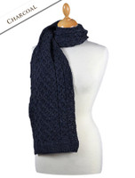 Aran Honeycomb Scarf - Charcoal