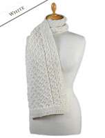 Aran Honeycomb Scarf -White