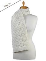 Aran Honeycomb Scarf -White