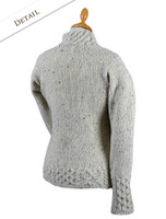 Back Detail of Women's Wool Cashmere Aran Mock Turtleneck Sweater